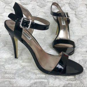 Steve Madden Black Patent Leather Strappy Heels